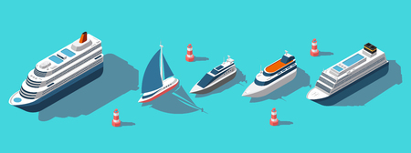 Isometric ferries, yachts, boats, passenger ships vector set. Illustration of ship ferry and boat, sea transport passenger Ilustração