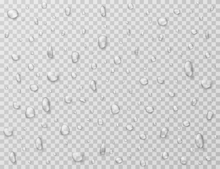 Water drops isolated. Rain drop splashes, droplets on glass transparent window. Raindrop vector texture. Rain droplet, raindrop aqua bubble illustration