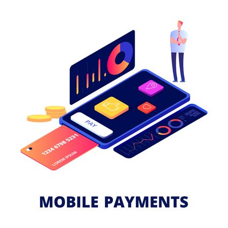 Paiements mobiles, achats en ligne et concept vectoriel bancaire. Smartphone de paiement, illustration de banque électronique mobile