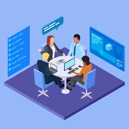 Reunión de negocios en la ilustración de vector isométrica de empresa internacional. Empresa comercial, gente hablando en la sala de la oficina Ilustración de vector