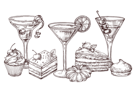 Dessert disegnati a mano e vettore di cocktail morbidi isolato su priorità bassa bianca. Illustrazione del disegno di un cocktail e di una torta di dessert