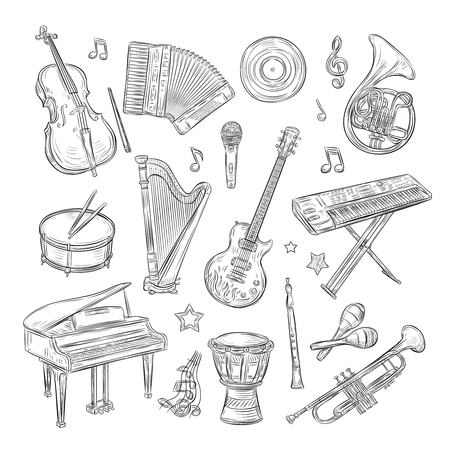 Musical instruments doodles. Drum flute synthesizer accordion guitar microphone piano musical notes retro hand drawn sketch vector set. Illustration of drum and piano, microphone and accordion