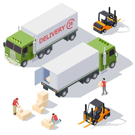 Raccolta di elementi vettoriali isometrici del servizio di consegna con camion di consegna, scatole e uomini di consegna. Servizio isometrico del carico di consegna, illustrazione del camion del caricatore