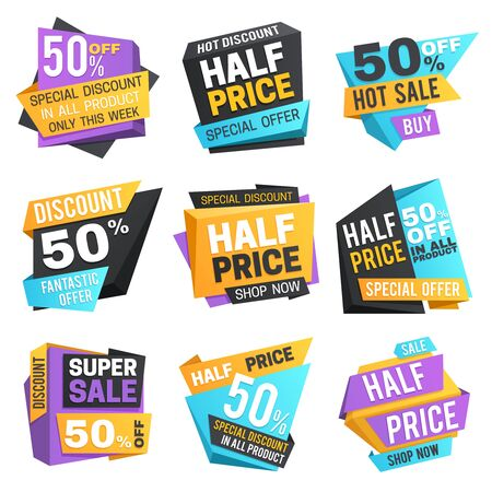Half price labels. Super 50 off discount sale pricing tags. Vector set. Illustration of price discount label, promotion offer sale sticker