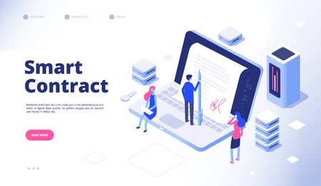 Smart contract. Digital signature electronic document smart contracts protocol facilitator cryptography agreement vector concept. Digital signature contract agreement, business smart illustration