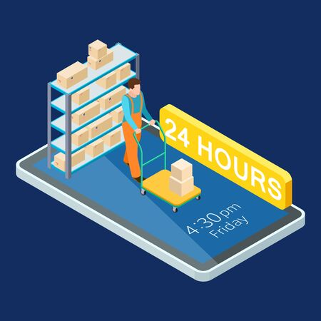 24 hours delivery online services isometric vector illustration. Isometric delivery app phone, isometry service 24h