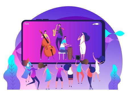 Live music concept on phone and dancing people - online music fest vector illustration. Music online live fest, media internet entertainment Illustration