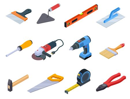 Repair tool isometric. Handyman construction tools paint kit repair home drill craftsman 3d isolated vector set. Illustration of repair tool construction, equipment industry hammer and handsaw Illustration