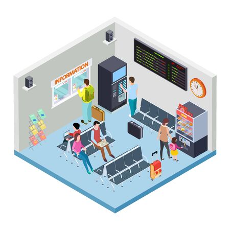 Railway, bus station or airport waiting area isometric vector concept. Illustration of airport station, railway terminal lounge room with schedule