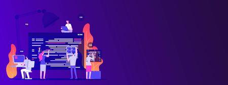 Web site development. Designers and programers create corporate site - empty space vector concept. Illustration of development programming, web designer create page Vetores