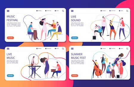 Music festival vector landing pages set template. Illustration of musician concert, festival page, live music play jazz Stock Illustratie