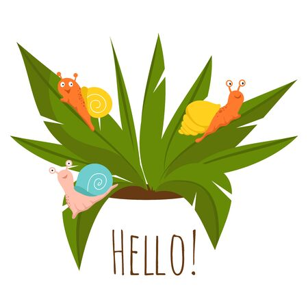 Plant pests, snails on the green plant - gardening vector illustration. Snail on green leaf plant, garden wildlife 스톡 콘텐츠 - 124773474