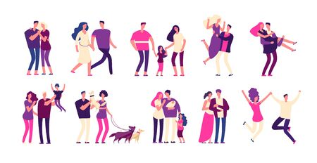 Romantic people set. Happy couples hug kiss boyfriend girlfriend lover beautiful young romantic family man woman love isolated vectors. Boyfriend and girlfriend couple, happy woman man illustration Illustration