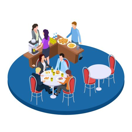 Business people on a coffee break isometric vector illustration. Business breakfast drink coffee and eat food