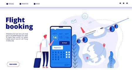 Réservation de vol. Réservation de voyage budgétaire en ligne dans le concept de service de voyage de vecteur de vacances de vacances de réservation de vols d'avion sur Internet. Illustration de la réservation d'un vol pour un voyage en avion