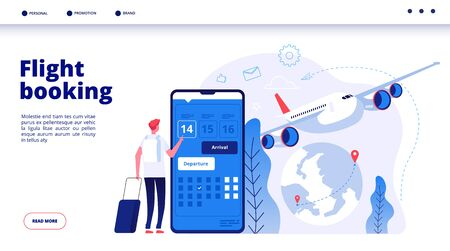 Flight booking. Online budget travel booking in internet plane flights reservation vacation holiday vector travelling service concept. Illustration of booking flight for travel by plane Illustration