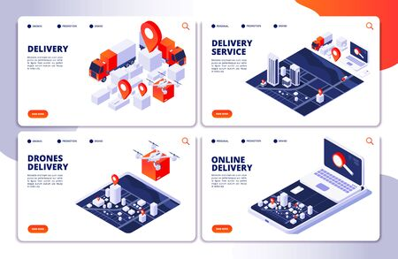 Delivery services vector landing pages of collection. Online delivery service page, retail order illustration