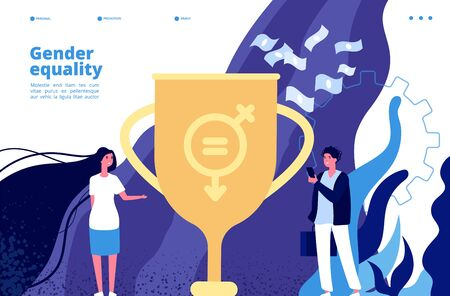 Gender equality concept. Equal rights and opportunities between men, women. Feminism movement to gender tolerance vector background. Illustration of gender rights female, woman and man balance
