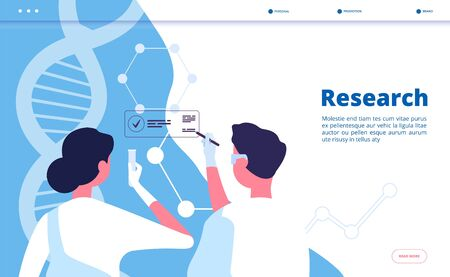 Research lab landing. Researchers scientists test dna in chemical laboratory. Pharmaceutical biochemistry vector concept. Illustration of research biochemistry, scientific biotechnology banner web Zdjęcie Seryjne - 124773481