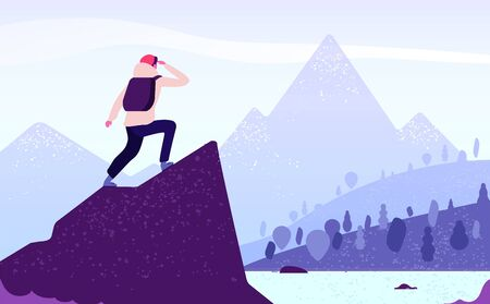 Man in mountain adventure. Climber standing with backpack on rock looks to mountain landscape. Tourism nature journey vector concept. Adventure mountain, mountaineering tourism, trekking illustration