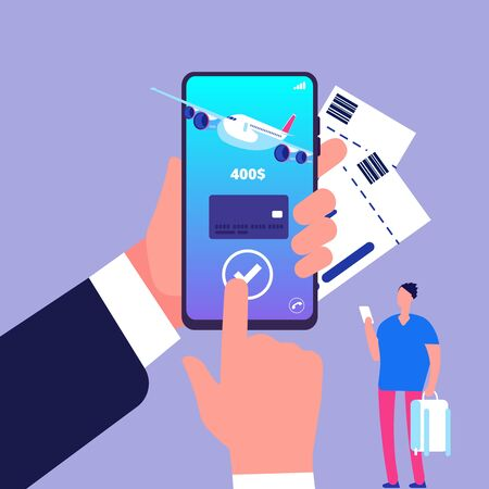 Online ticket concept. Buying tickets with smartphone. Online payment vector illustration. Buying ticket to flight for travel, journey, airplane trip Foto de archivo - 125316719