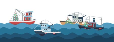 Sail and fishing boats in ocean waves vector illustration. Fishing boat and nautical transport, fish industry Ilustração