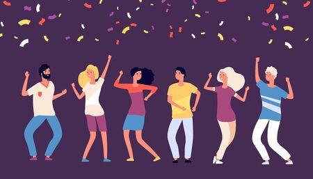 Ballerini di festa. I giovani felici ballano, festeggiano durante le vacanze aziendali, l'uomo donna gioiosa balla con il concetto di vettore di coriandoli che cadono. Ballo della festa della gente, illustrazione del ballerino divertente in vacanza Vettoriali