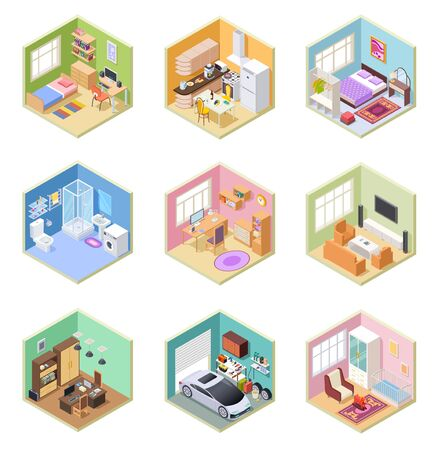 Isometric rooms. Designed house, living room kitchen bathroom bedroom toilet apartment interior with furniture 3d vector set. Kitchen isometric room, indoor bathroom, bedroom interior illustration Иллюстрация