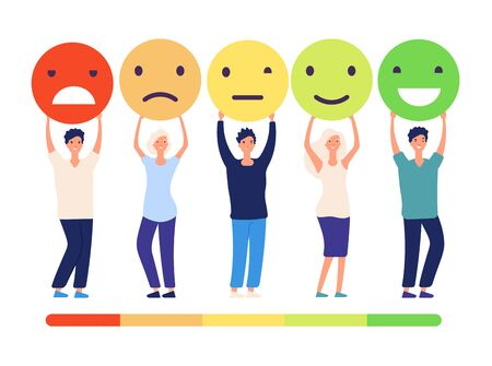 Customers feedback concept. People and measuring review opinions approval recommendation status. Emoticons from bad to good vector set. Illustration of feedback good review, quality status survey