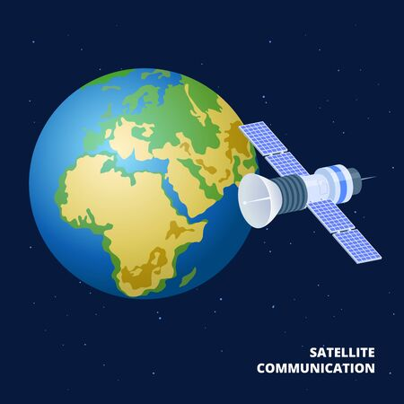 Satellite communication isometric vector illustration. Spaceship and earth. Satellite for communication global, station outer cosmos for imternet