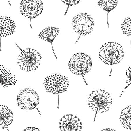 Patrón sin fisuras de diente de león. Diente de león, hierba, polen, planta, semillas, soplar, tranquilo, viento, pelusa, flor, macro, naturaleza, vector, primavera, textura. Patrón sin fisuras de diente de león, ilustración de suavidad de flores