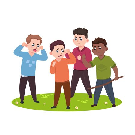 Angry kids. Bad boys confronting and bullying smaller children vector illustration. Boy bully behavior, kids aggressive