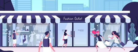Boutique outside. Fashion outlet with shop mannequins in display windows and girls walking along street. Vector consumerism concept. Illustration of outlet boutique store, fashion retail