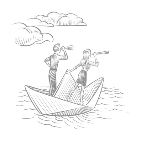 Businesswoman and businessman with telescopes sailing on paper boat. Future career vision and leadership vector doodle concept. Illustration of paper boat, businessman navigation and searching