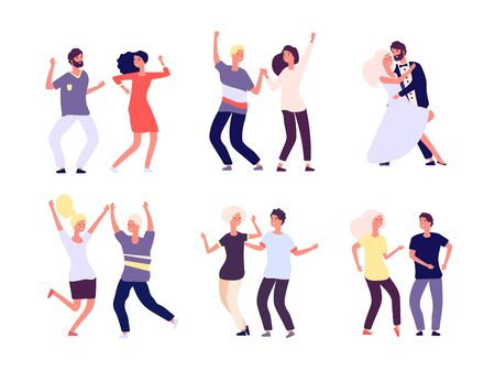 Dancing couples. Happy persons dance salsa, tango adult woman man dancers in love. Party crowd fun isolated vector cartoon characters. Party couple dance, dancer performance, disco people illustration