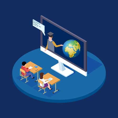 Online astronomy lesson isometric vector concept. Remote teacher tells children about earth and space illustration. Remote teach and studying, explain about earth