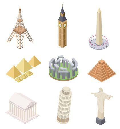Isometric landmark. Famous building travel landmarks pyramids leaning tower big ben eiffel tower infographics world map vector set. Travel landmark, statue architecture, eiffel tower illustration