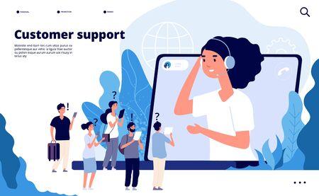Concepto de soporte al cliente. Los profesionales ayudan al cliente con el teléfono inteligente. Página de inicio de vector de comunicaciones de telemarketing. Ilustración de soporte de operador profesional, ayuda de comunicación