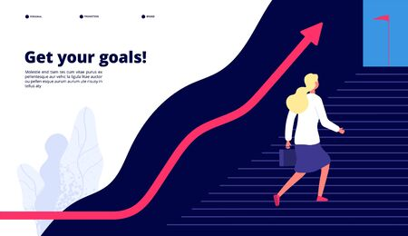 Personal growth. Woman walking steps to success, boost your work to target. Professional career business vector concept. Illustration of climbing to opportunity, personal success in career