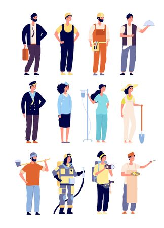 Professionals characters. policeman and fireman, doctor and stewardess, artist and musician, builder. labor Day vector characters. Illustration of doctor and photographer, builder and business man Foto de archivo - 128173622