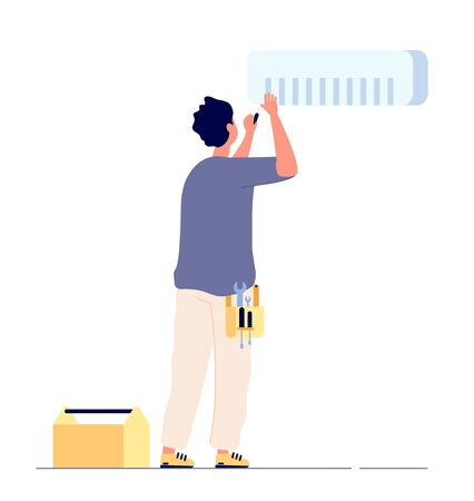 Air conditioner repair. Man technician doing maintenance air conditioners. AC home fixing, house conditioning service vector concept. Illustration of man repair conditioner, install or fix
