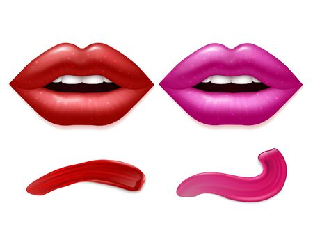 Realistic vector lips and lipstick smears isolated on white background. Smear fashion cosmetic, glamour makeup stroke illustration