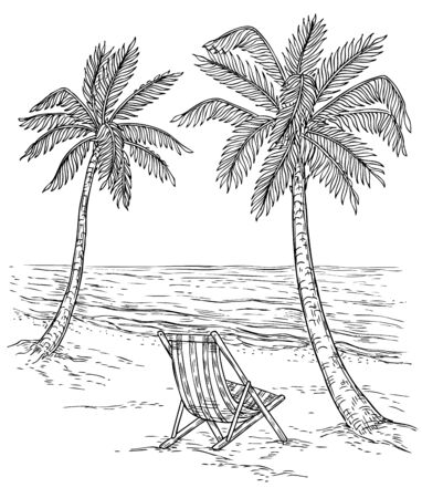 Sketch palm tree landscape. Tropical palm beach, exotic trees and sea waves. Vintage hand drawing vector relaxing summer background. Summer exotic tropical beach, landscape sea and palm illustration