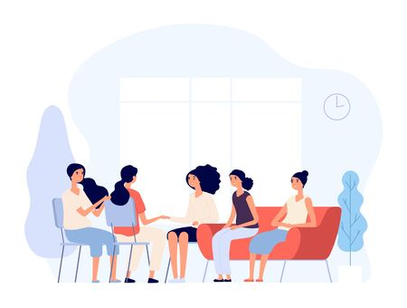 Woman therapy. Females consulting with psychologist depressed women counseling to psychiatrist in group. Psychoanalysis vector concept. Psychiatrist woman, therapy psychology illustration