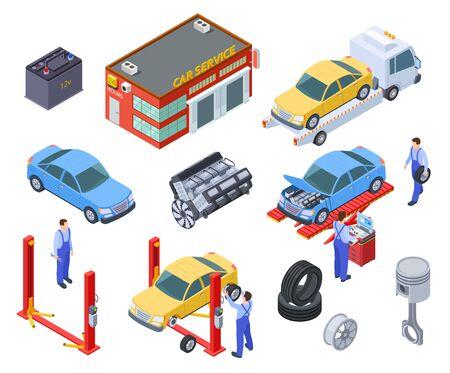 Servizio auto isometrica. Le persone riparano le auto con attrezzature industriali automobilistiche. I tecnici sostituiscono la parte del veicolo, le ruote. Vettore 3d dell'officina. Illustrazione dell'industria automobilistica di riparazione, servizio automobilistico