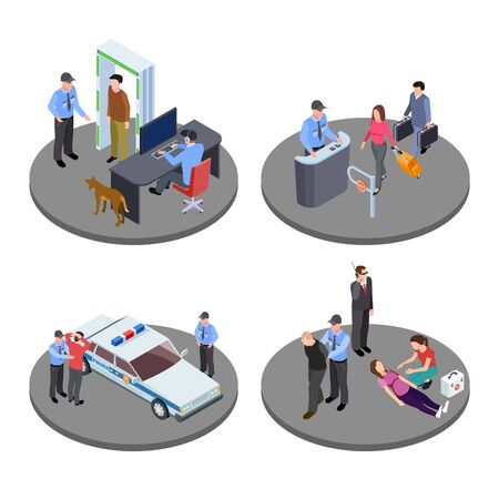 Security and police work isometric vector situations. Guard character, metal detector and control security illustration