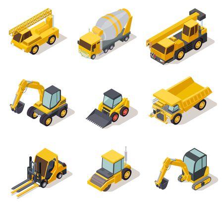 Isometric industrial machinery. 3d construction equipment truck vehicle power tools heavy machine excavator bulldozer map vector set. Illustration of bulldozer machinery, machine construction