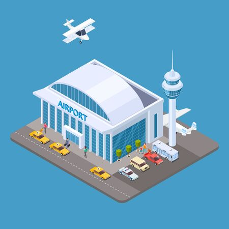 Vector airport isometric concept with passengers, taxi, airplane. Airport isometric terminal, travel transport illustration