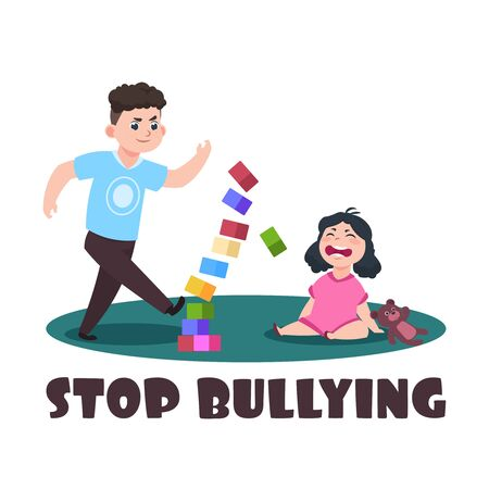 Angry kids. Bad boy and crying little girl. Stop bullying vector illustration. Bully boy has conflict with crying girl
