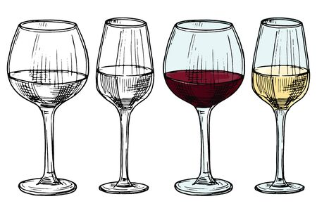 Hand drawn glasses with red and white wine vector illustration. Alcohol white and red drink wine, sketch beverage in wineglass